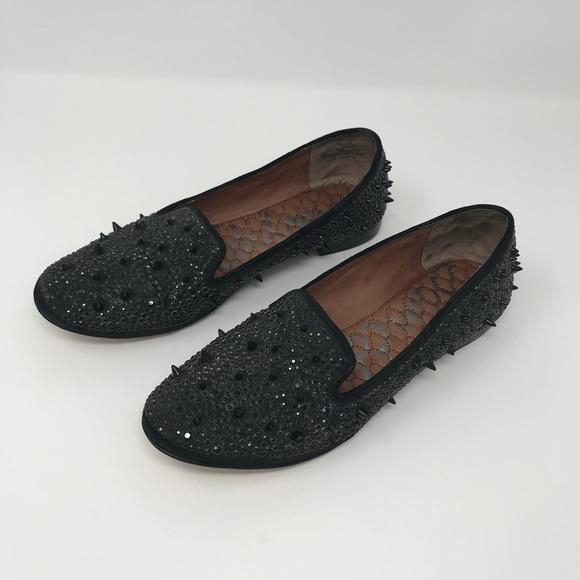 79b21ca2317e3 Sam Edelman Adena Black Satin Studded Flats Size 7